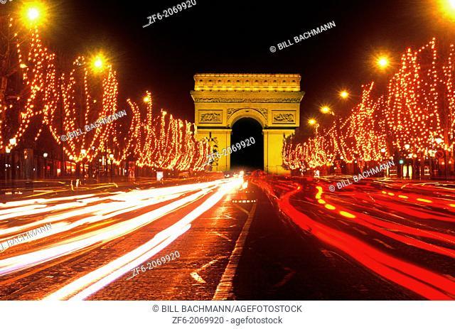 Famous Champs Elysees and Arc de Triomphe Paris France