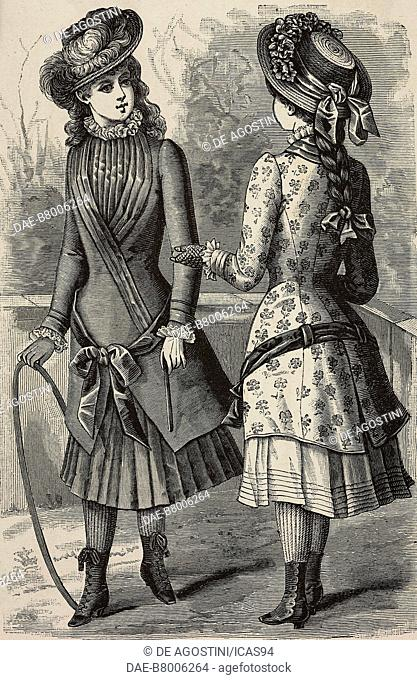 Clothes for 10-13 year-old girls, designs by Mademoiselle de la Torchere, engraving from La Mode Illustree, No 35, August 31, 1884