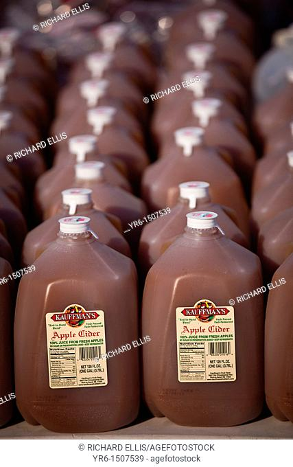 Amish made apple cider at the Annual Mud Sale to support the Fire Department in Gordonville, PA