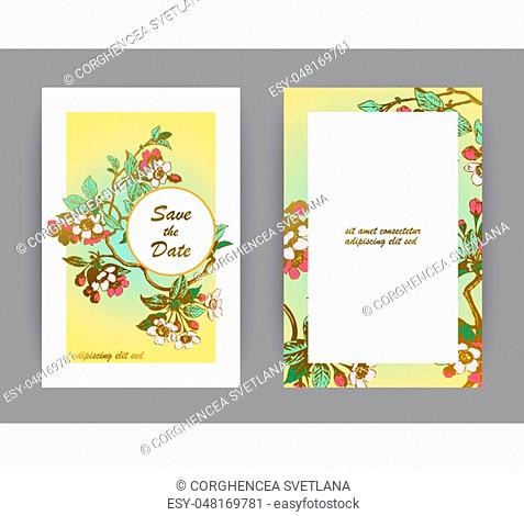 Botanical wedding invitation card template design, hand drawn sakura flowers and leaves on branches, vintage rural cherry blossom on green gold background