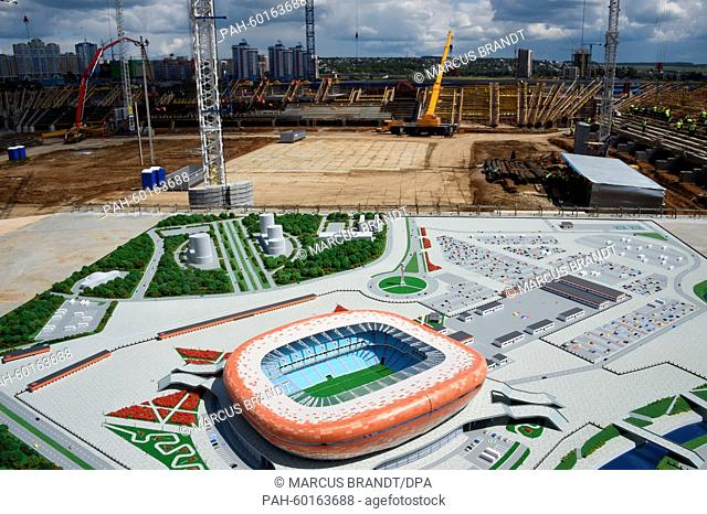 A model of the future soccer stadium has been set up at its construction site inSaransk,Russia, 17 July 2015. The stadium will serve as a venue for the 2018...