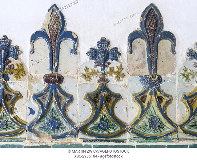 Palacio Nacional de Sintra, the national palace in Sintra, near Lisbon, part of the UNESCO world heritage. Decoration with azlejos in the throne hall