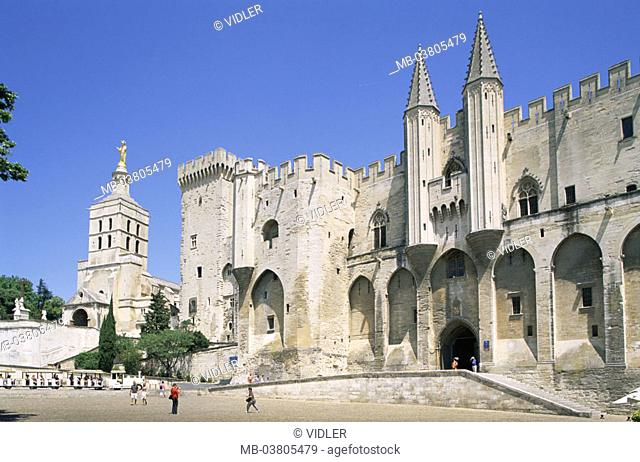 France, Provence, Avignon,  Pope palace   Europe, department Vaucluse, city, buildings, landmarks, construction, historic, medieval, Gothic, 14