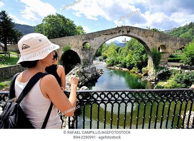 Roman bridge over river Sella, XIVth century, Although known as the Roman bridge, its construction was during the reign of Alfonso XI with its famous stilted...