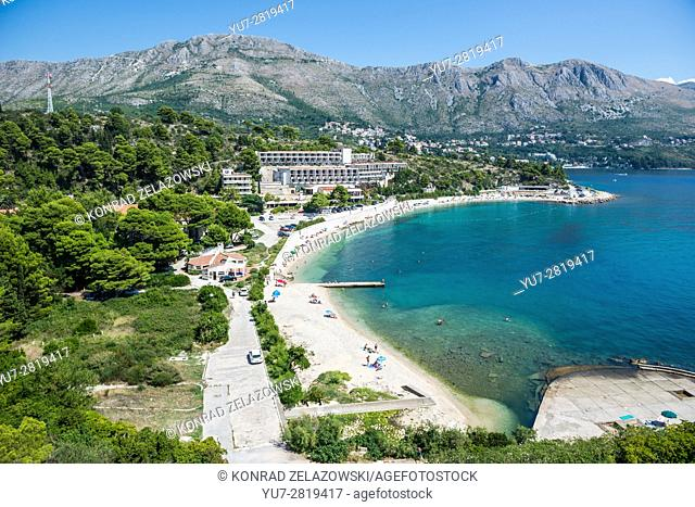 Aerial view on abandoned Goricina Hotel and beach in Kupari tourist complex destroyed during Croatian War of Independence
