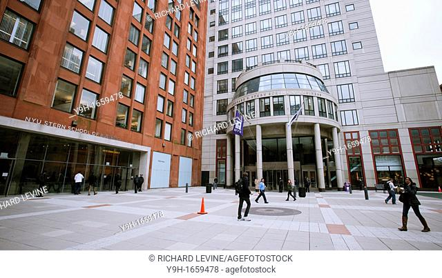 Gould Plaza of New York University in Greenwich Village in New York showing the NYU Stern School of Business