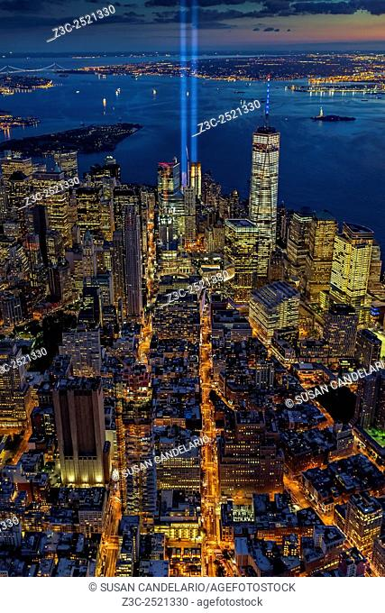 New York City Remembers September 11 - Aerial view of the Tribute In Lights Memorial on the14th anniversary of the terror attacks of 911 in NYC
