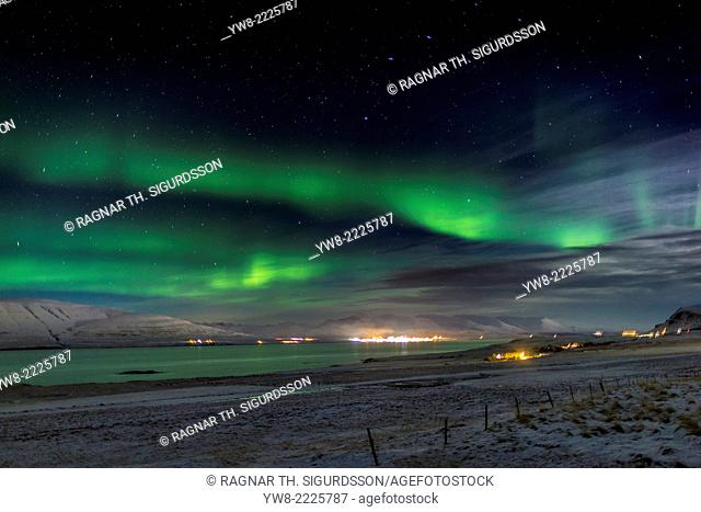 Aurora Borealis or Northern lights, Kjalarnes, Reykjavik, Iceland