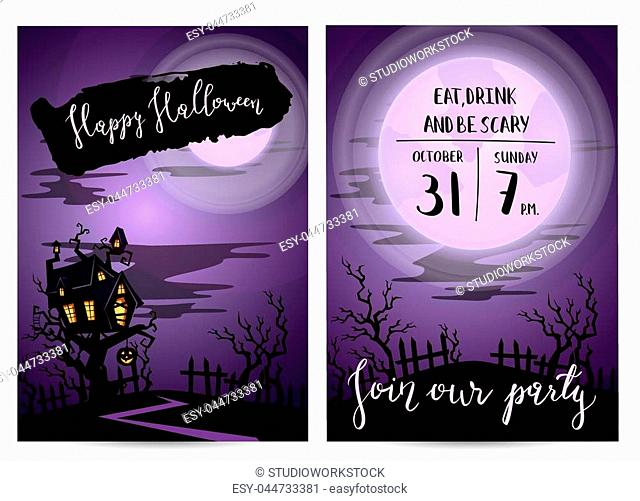 Halloween party invitation set with spooky castle on tree in mystic forest at night under full moon, vector illustration