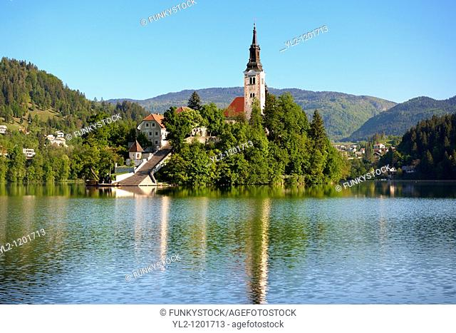 Assumption of Mary Pilgrimage Church in the middle of Lake Bled Slovenia