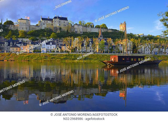Chinon, Castle, Château de Chinon, Chinon Castle, River Vienne, Indre-et-Loire, Pays de la Loire, Loire Valley, UNESCO World Heritage Site, France