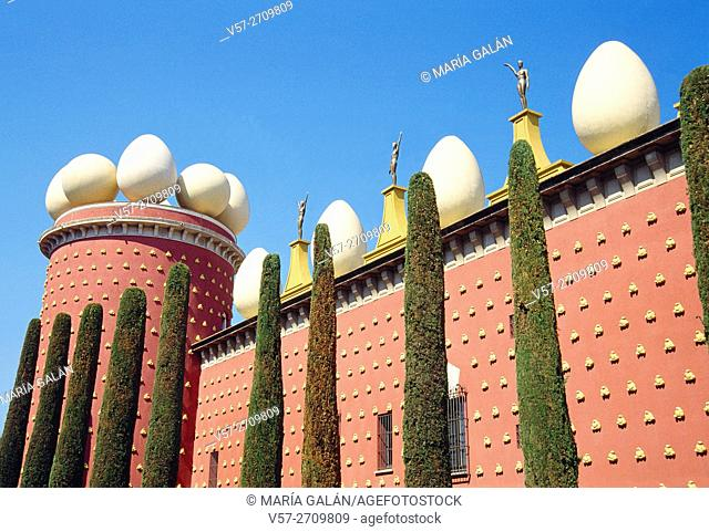 Galatea tower and facade of Gala Dali Museum. Figueres, Gerona province, Catalonia, Spain