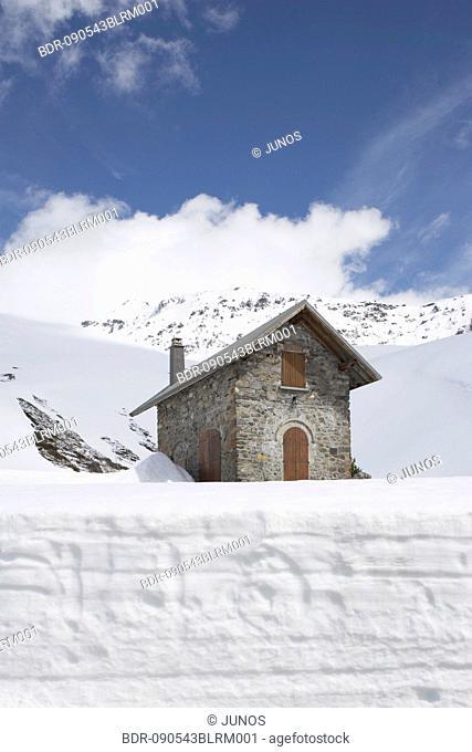 alpine hut near Little Saint Bernard Pass in France