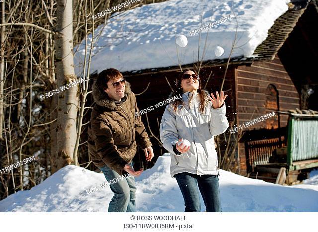 Couple in casual ski wear