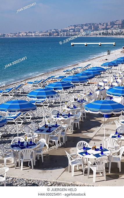 Beach Front, Promenade des Anglais, Beach Bar, Lounge, Nice, Alpes Maritimes, Provence, French Riviera, Mediterranean, France, Europe