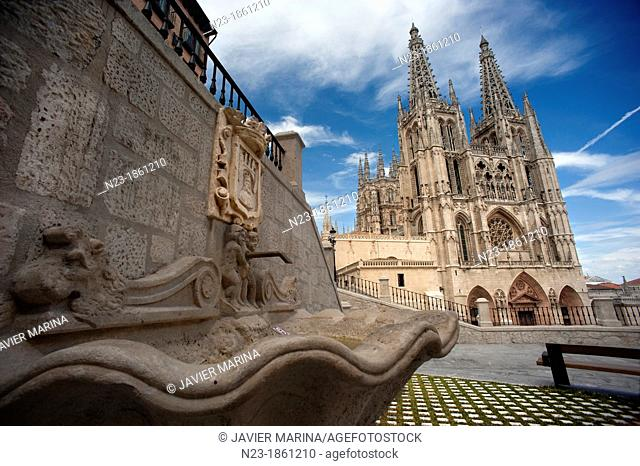 Fountain and Cathedral of Burgos, Spain