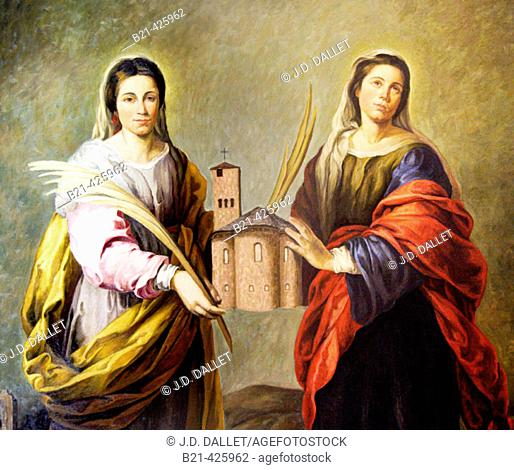 Saints Nunido and Alodia holding church, painting in the monastery of Leyre. Navarra, Spain