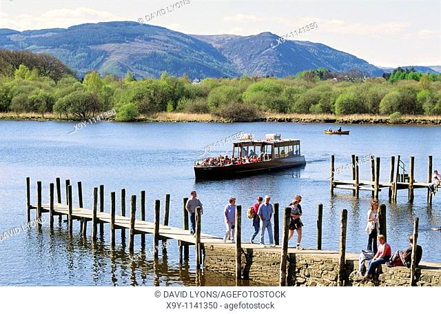 Lake District National Park boat launch landing pier on Derwentwater at Keswick, Cumbria, England, UK United Kingdom