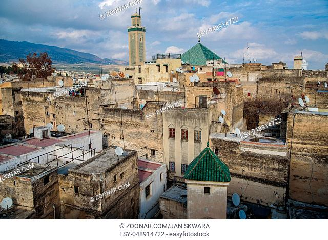 View of the old town of Fez, Morocco, North Africa