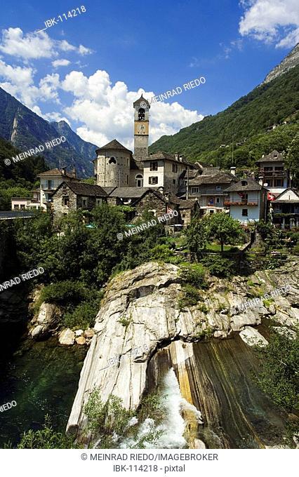 The village Lavertezzo in the Verzasca Valley, canton Tessin, Switzerland