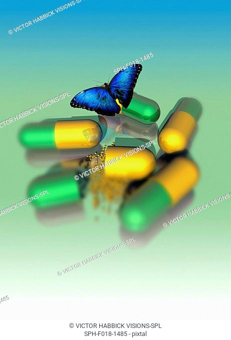 Capsules and butterfly, conceptual illustration