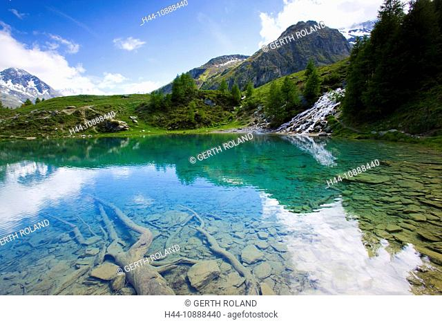 Lac blue, Switzerland, Europe, canton Valais, nature reserve Val d'Hérens, lake, color, roots, stones, brook, spring, source, mountains