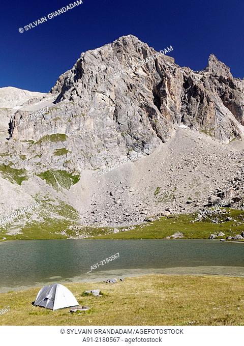 France, Savoie, Valloire neighbourhood , hiking around Cerces Lake
