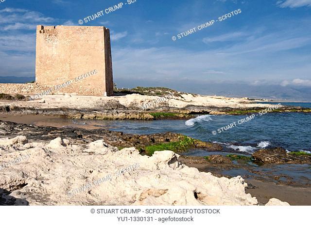 Rocky coastline at the Playa Torre de Cope, Cabo de Cope near Aguilas, Murcia, Spain