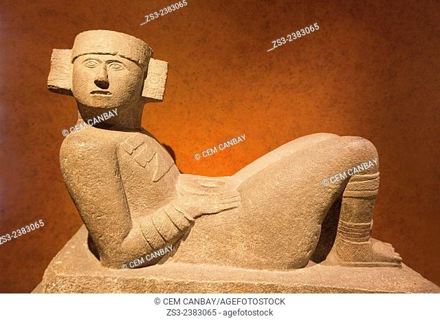 Chac Mool statue at the Museo Nacional de Antropologia-The National Museum of Anthropology, Ciudad de Mexico, Mexico City, Mexico, North America