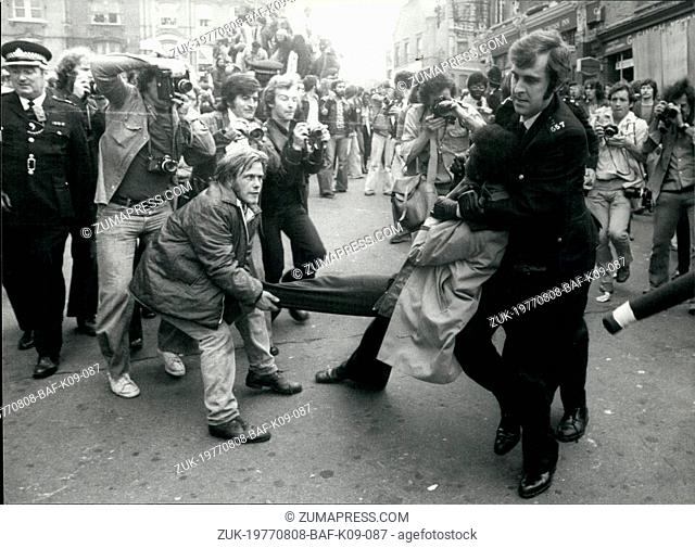 Aug. 08, 1977 - Violence Flares in London Marches. The London marches by the National Front and the Socialist Workers Party, erupted into violence today
