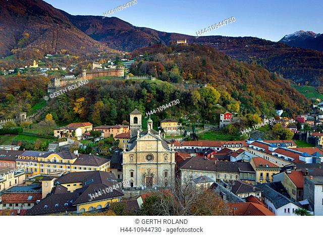 Bellinzona, Switzerland, Europe, canton, Ticino, houses, homes, Old Town, castles, view, Castelgrande, fort, wood, forest, autumn, dusk