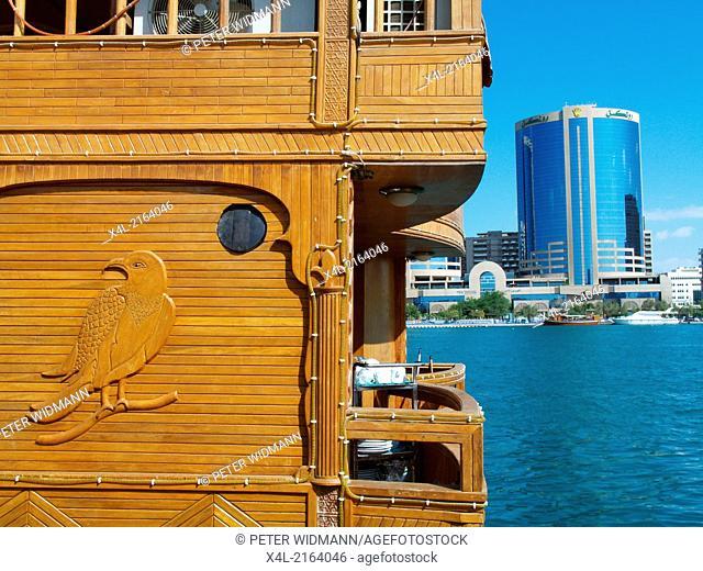 Dubai Creek, Twin Towers, wooden falcon, United Arab Emirates, Dubai