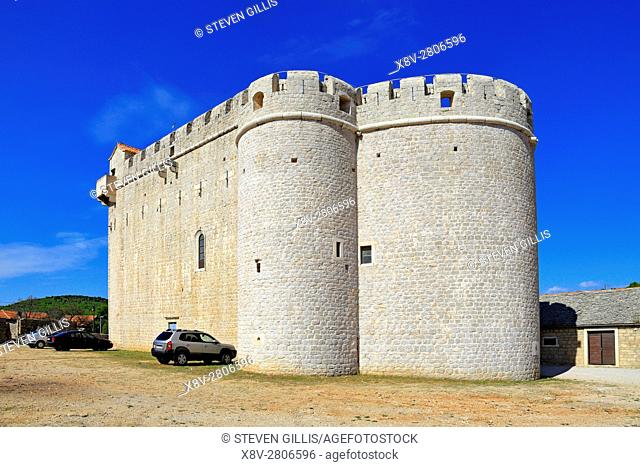 Fortified St Mary's Church, Vrboska, Hvar Island, Croatia, Dalmatia, Dalmatian Coast, Europe