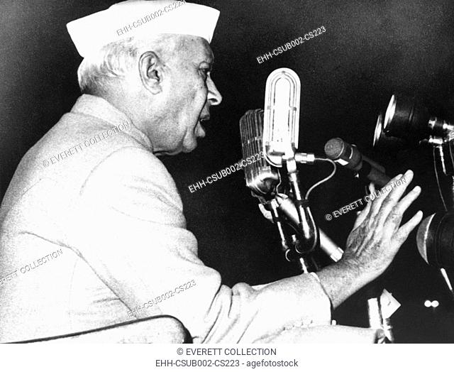 India's Prime Minister Jawaharlal Nehru addressing a defense rally in New Delhi on Nov. 11, 1962. Throughout 1962, Chinese soldiers provoked skirmishes on the...
