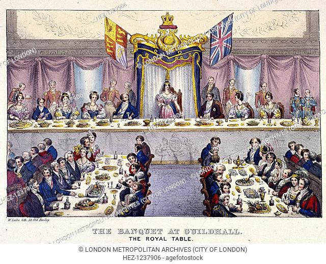 Queen Victoria at the Guildhall banquet, London, 1837. View of the royal table as Queen Victoria drinks the health of the citizens of London
