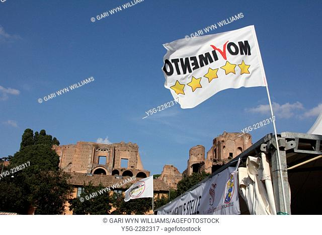 Rome, Italy 11th October 201 4 The Five Star Movement political party national meeting at the Circus Maximus area, Rome, Italy