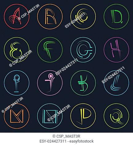 Abstract Logo Icons Set Thin Line Simple Colorful Collection Minimalistic Style