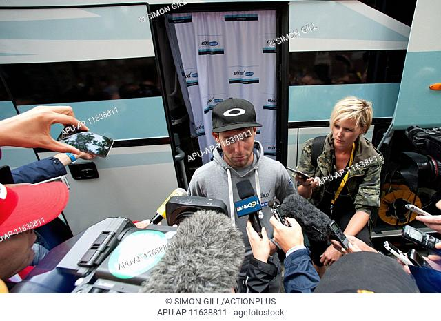 2015 Tour De France Stage 5 Arras to Amiens July 8th. 08.07.2015 Amiens, France. Mark Cavendish faces the media after stage 5 of the 2015 Tour De France Arras...