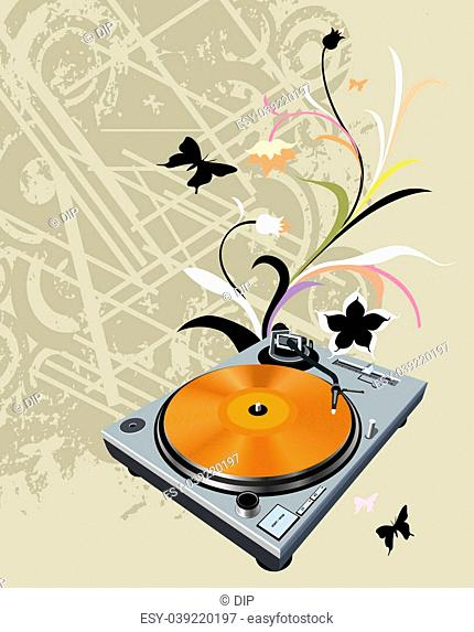 turntable on floral grunge background