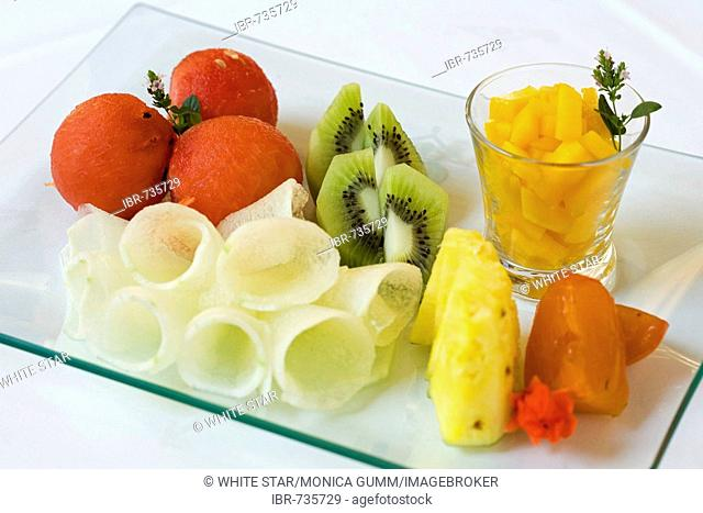 Fresh fruit, breakfast at the Parador Hotel restaurant, Granada, Andalusia, Spain, Europe