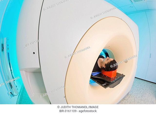 Patient lying in a computed tomography, CT scanner