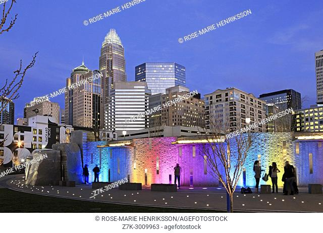 Romare Bearden park in Charlotte, North Carolina, at dusk