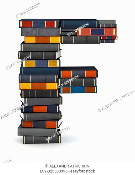 Letter F, stacked from many encyclopedy books in pile