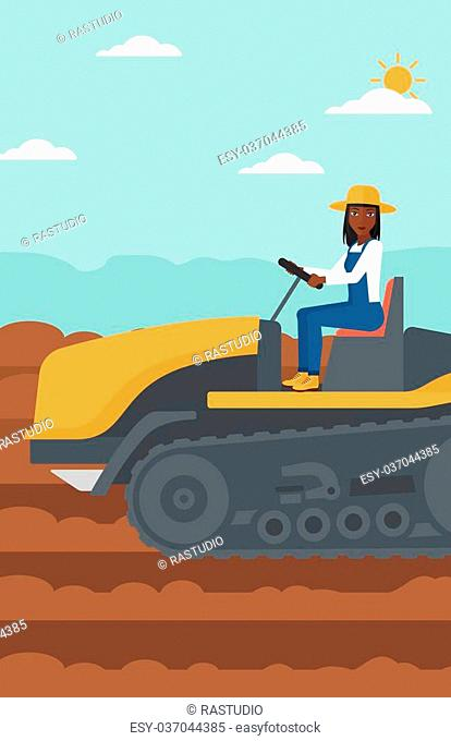 An african-american woman driving a catepillar tractor on a background of plowed agricultural field vector flat design illustration. Vertical layout