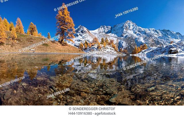 Mountain, mountains, autumn, Valais, Wallis, Switzerland, Europe, snow, mountain lake, larches, lake, Lac bleu, blue lake, Val d'Arolla, grande Dent de Veisiv