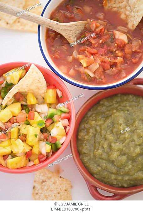 Variety of Mexican salsas