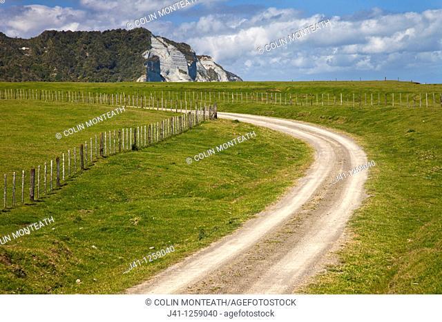 Farm road on Whitecliffs walkway, near Tongaporutu beach, North Taranaki