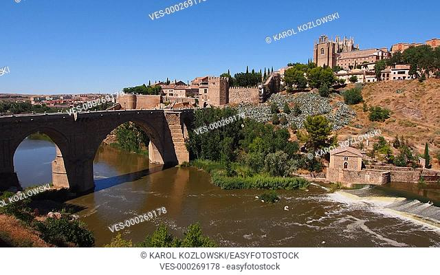 Cityscape of Toledo and view of Tajo River