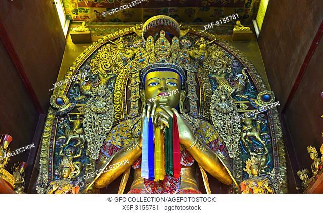 Buddha statue, Jamchen Gompa monastery, Boudhanath shrine, Kathmandu, Nepal