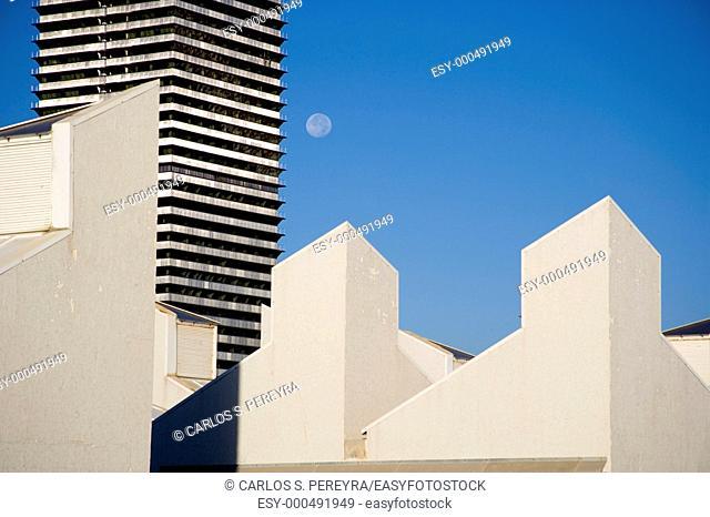 Modern architecture in Port Olimpic, Barcelona, Catalonia, Spain